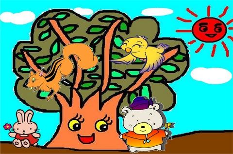 简笔画 小鸟 大树
