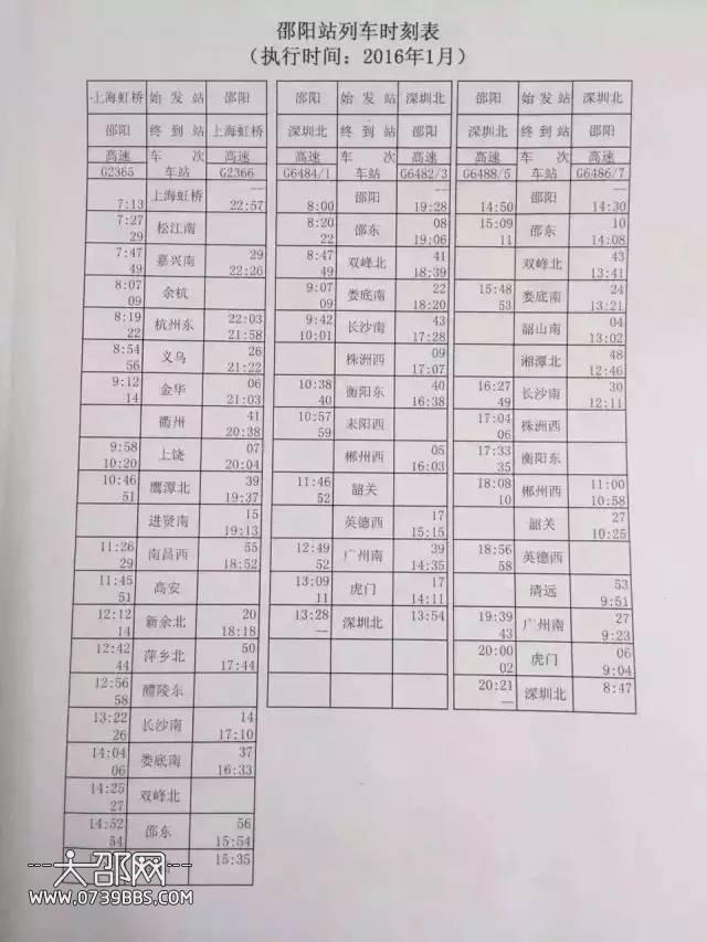 邵阳市区火车南站高铁春运时刻表出来啦!