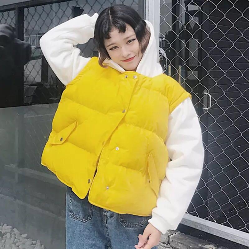 冬季韩版ulzzang原宿风bf短款面包服假两件棉服棉衣棉袄外套女潮