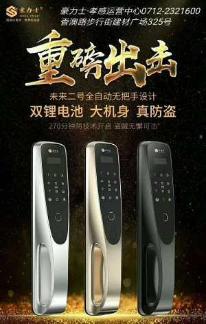 豪力士未来二号 全自动无把手 高端指纹锁云智能门锁