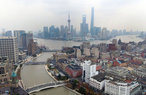 上海:空中俯瞰苏州河
